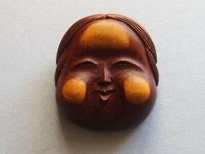 19th century antique hida school ittobori mask netsuke Okame,signed
