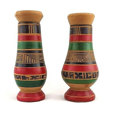Vintage Wooden Salt and Pepper Shaker Set from Mexico- Late 1960s to early 1970s