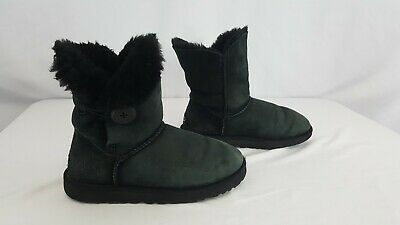 fcf2d05bc31 UGG AUSTRALIA BAILEY Button II Black Suede Fur Women's Boots Size 7 (#5803)