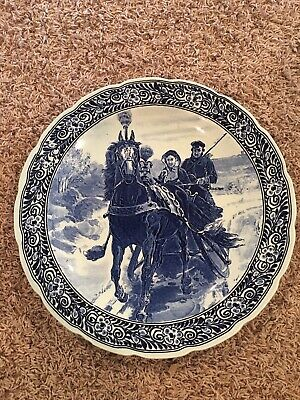 """Vintage Royal Sphinx Delft Madein Holland 15 1/2"""" Charger Plate Family / horse"""