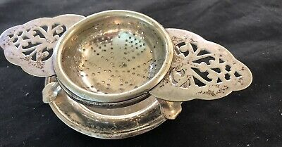 Vintage Tea Strainer Epns A1 In Very Good Cond. On Stand Ornate Handles