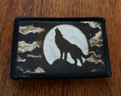 Lone Wolf Morale Patch Tactical Military Army Badge Flag USA Hook