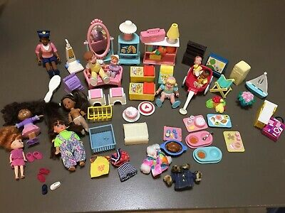 57 Pc Lot Vintage 1990's F-P Inc.Toy Dolls w/ Doll House Furniture Accessories