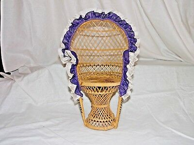 """Large 16"""" Peacock Style Wicker Rattan Chair Doll Furniture Purple & White Lace"""