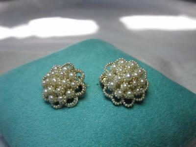2 Victorian Seed Pearl 14K Gold Brooches Edwardian c1860 Wedding Jewelry