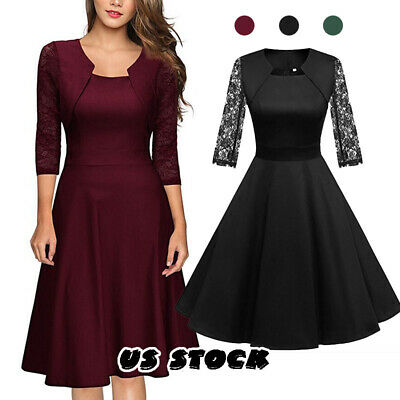 1f201817d7 US Women Casual Short Sleeve Solid Vintage Swing High-Waist Pleated Party  Dress