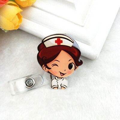 Women Doctor Nurse Name Tag Cute Key Card Holder Clip ID Badge Lanyard Decor