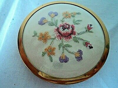 Petit Point and goldtone embroidered powder compact - 1950's, VGC