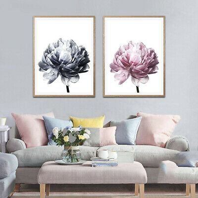 Nordic Minimalist Peony Flower Wall Painting Picture Art Home Decor Unframed CA