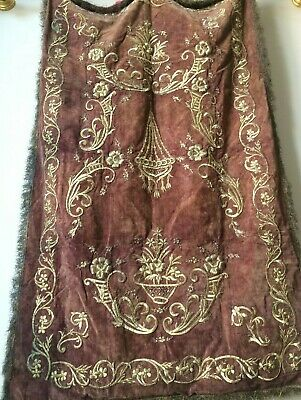 Antique Ottoman Palace Hand Embroidery Silk & Gold Thread Wall Hanging