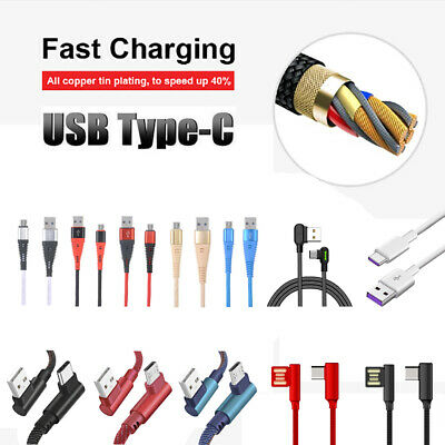 1-2M USB-C Type-C 3.1 Nylon Braided Data Sync Charger Fast Charging Cable Cord