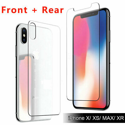 For iPhone X/XS/MAX/XR 9H Tempered Glass Front & Back Rear Screen Protector Film