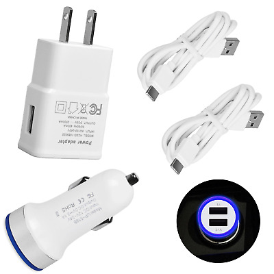 For Samsung Galaxy S10 S9 S8 Note 8 9 Wall Charger+LED Car Plug Type C Cable Set