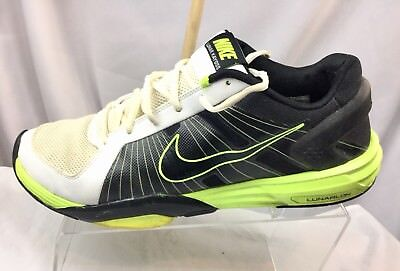separation shoes a04ce 263c0 Nike Lunar Kayoss Men s Running Shoe Size 11.5 Black White Green Flywire