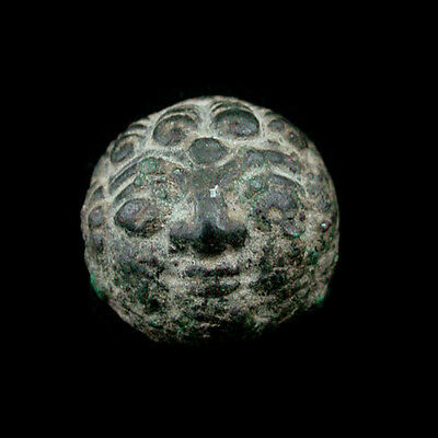 A bronze Hellenistic weight with head of Medusa x8445
