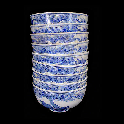A set of nine blue & white Chinese export-ware ceramic lidded rice bowls x6722
