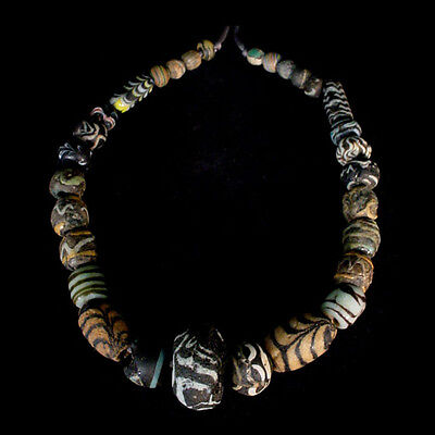 "A Roman to Islamic ""Gabri"" glass bead necklace. x7953"
