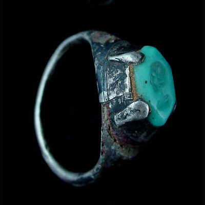 Indo-Greek silver ring with turquoise bezel. x9046