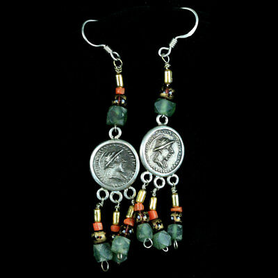 A pair of earrings with central Bactrian empire silver coated copper coin. y2775