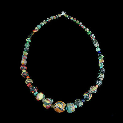 "A Roman to Islamic ""Gabri"" glass bead necklace. x8911"