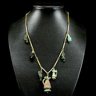 A necklace comprising Victorian gold links, with roman to islamic beads y771