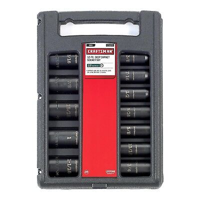 """Craftsman 12 pc. 1/2"""" Drive Easy-to-Read INCH Deep Impact Socket Set 15886"""