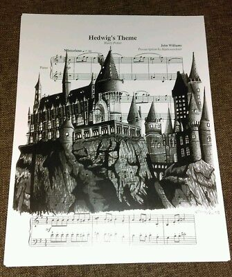 Harry Potter signed art print Hedwig Hogwarts sheet music 8.5X11 drawing!