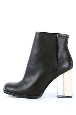 e4a2f3001d5 MIISTA LONDON BLACK Leather Ankle Boots Clear Heel Boot Size 7 Euro ...