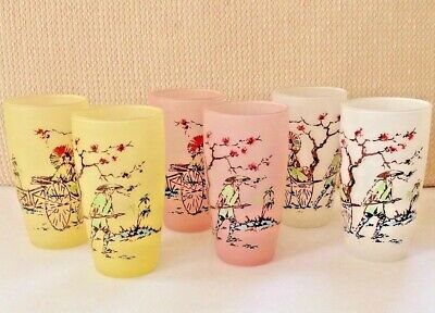 Vintage Frosted Tumblers - Asian Inspired - Pink, Yellow, & White Set of 6 - EUC