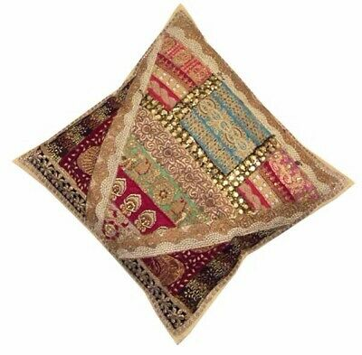 "24"" Beige Ethnic Art Bead Kundan Moti Sequin Sari Throw Bed Cushion Pillow Cover"