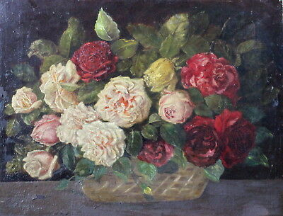 Antique 19th Century Original French Oil Floral Still life Signed indistinctly