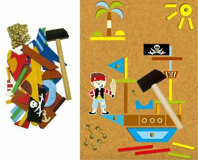 Wooden Pirate Tap A Shape Educational Toy Hammers & Nails in Book Box