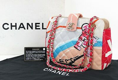 d76ee49a73ad6e Auth CHANEL Multicolor Quilted Canvas Arc De Triomphe Tote Hand Bag Purse  #29238