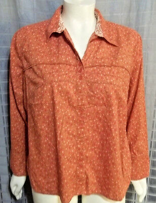 "Size 2X CJ Banks orange floral button up long sleeve top Chest 54"" X Len 24"""