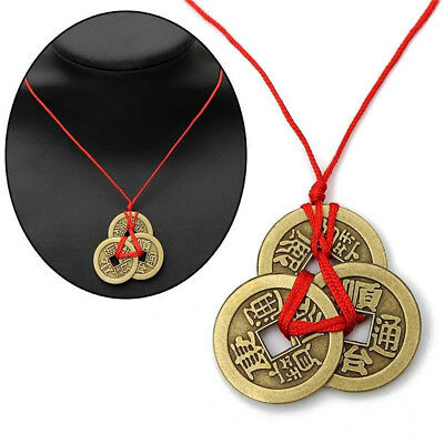 Chinese Lucky Coins Good Luck Feng Shui Pendant Fortune Money Necklace Utility