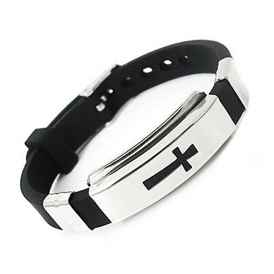 Stainless Steel Cross ID Black Rubber Men Women Cuff Bracelet Wristband Bangle