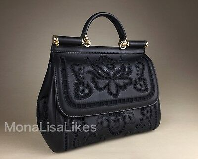 25ffe28171 NEW DOLCE GABBANA Miss Sicily Black Nappa Laser Cut Out Medium Bag Handbag  Purse
