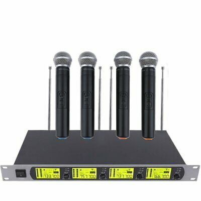 NEW Audio 4x 800 Channel UHF Diversity Wireless Handheld Microphone Mic System A