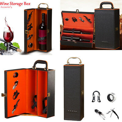 1/2 Bottle Vintage PU Leather Wine Box Holder Wine Gift Packing Box+4Accessories