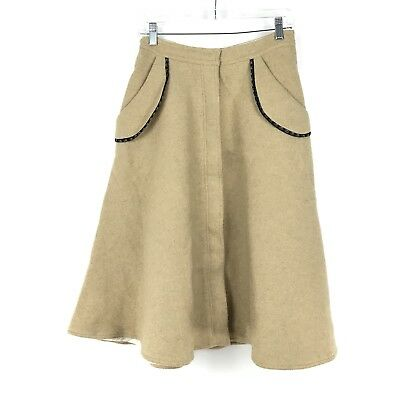 27a1c3609a Vintage Unbranded 1960s Size XS Wool A-Line Button Front Skirt Tan Lined  Pockets