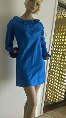 Retro 60s 70s style handmade ruffle neck & sleeve cuff l/s mini dress size 8/XS