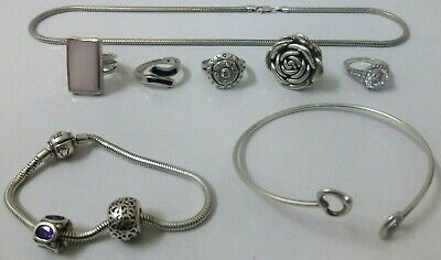 Silver 925 Wear Or Scrap Ring Necklace Mixed Lot Total Weight 80.1 Grams
