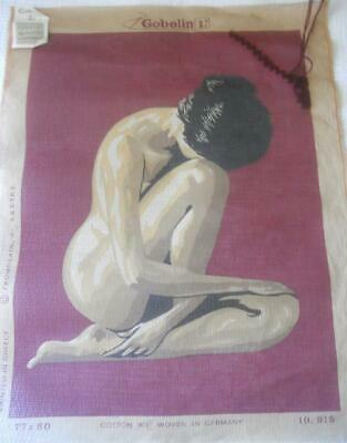 Tiny Amt Wkd Lg Vintage Gobelin Printed Tapestry Canvas Nude Design 50 X 67 Cm