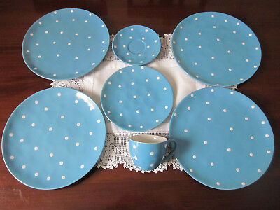 Maxwell & Williams Blue Sprinkle ~ Four Dinner Plates Cup Saucer Bb Plate