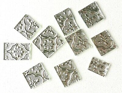 Silver Glass Small Mosaic Tile x 10 - New and Unused.