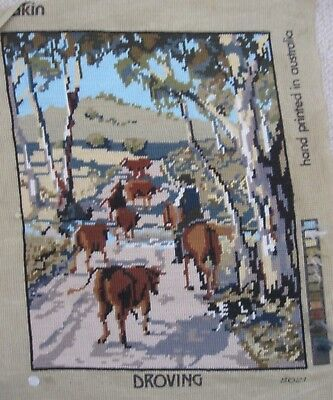 Completed wool TAPESTRY Pakin DROVING Australian rural scene, horses cattle, gum