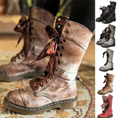 8485a745ef9 Womens Mid Calf Lace Up Biker Punk Military Combat Ankle Boots Shoes Chic  Zsell