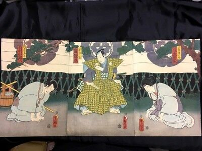 Antique Meiji era Ukiyo-e Japanese Woodblock Print Kabuki actor picture 3 sheets