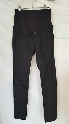 Black Jeanswest Skinny Leg Maternity Jeans Size 8 ankle zips waxed look as new