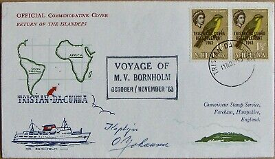 """1963 TRISTAN DA CUNHA """"Return of the Islanders"""" Official Signed Cover"""